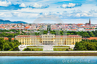 Schonbrunn Palace with Great Parterre garden in Vienna, Austria