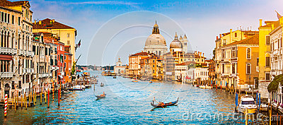 Canal Grande and Basilica di Santa Maria della Salute at sunset in Venice, Italy