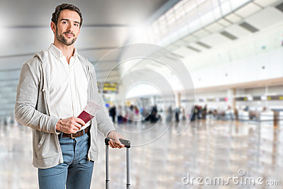 Man waiting in an airport