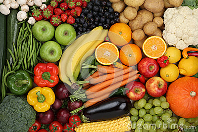 Healthy eating vegetarian fruits and vegetables background
