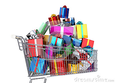 Supermarket trolley full of many multicolored gifts.