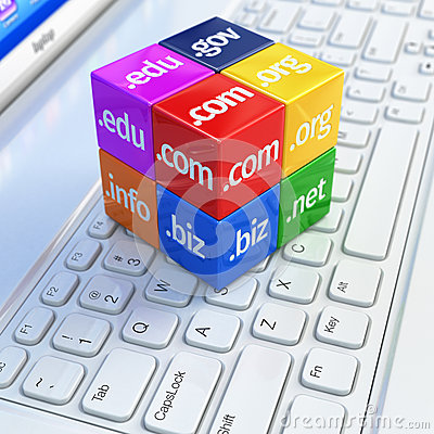 Domain concept. Cubes on white laptop keyboard.