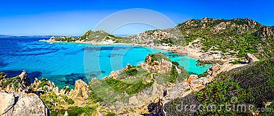 Beautiful ocean coastline beach panorama in Maddalena islands, I
