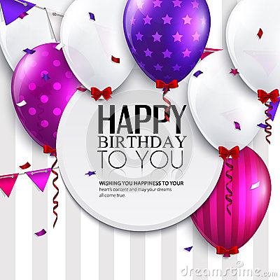 Vector birthday card with balloons and bunting flags on stripes background.