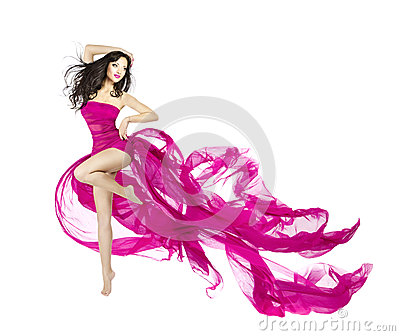 Woman dancing in fluttering dress, fashion model dancer with wav