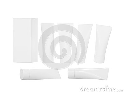 White plastic beauty hygiene tube with clipping path