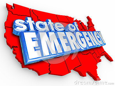 State of Emergency 3d Words United States America National Crisi