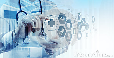 Double exposure of smart medical doctor working