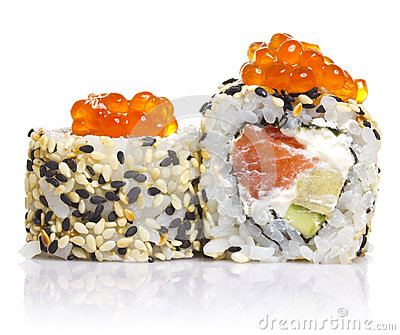 Sushi roll with sesame and red roe