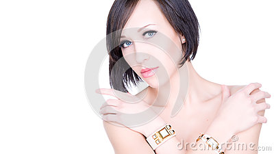 Beautiful young woman with healthy face and clean skin isolated on white background.