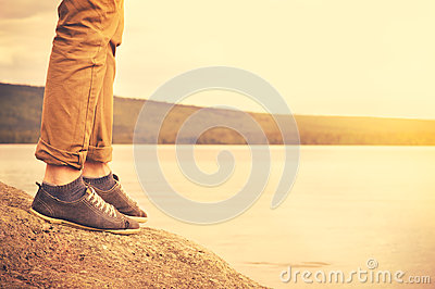 Feet man walking outdoor Travel Lifestyle