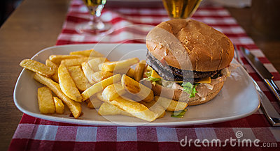Hamburger and fries on a plate