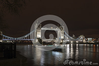 Tower Bridge Passing Boat Night