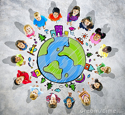 Group of Kids Looking Up with Globe Symbol