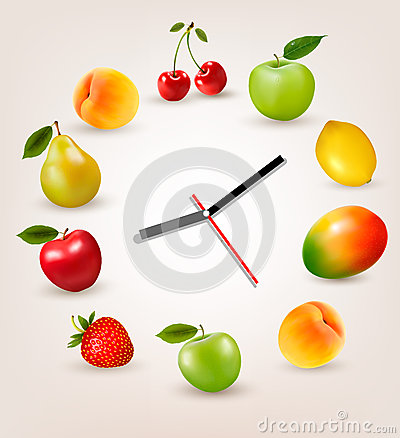 Clock with fruit. Diet time concept.
