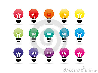 Rainbow spectrum light bulb icons