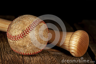 Old baseball and Bat