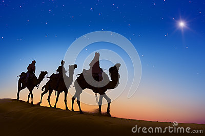 Three Wise Men Riding Camel on the hill