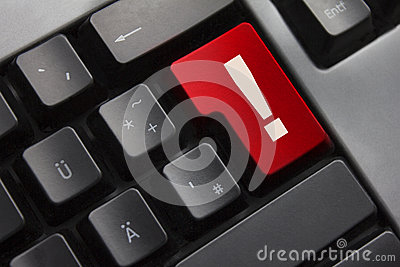 Keyboard red button exclamation mark danger