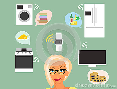 Blond woman thinking about smart gadgets at home