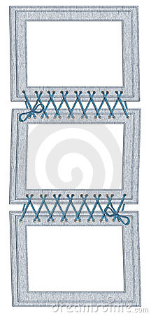 Frame for three photos with laces