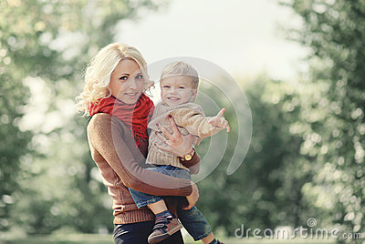 Autumn portrait happy family mother and son