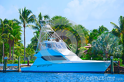 Sport fishing yacht with lush tropical background