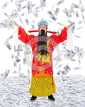 God of wealth share riches and prosperity with money rain