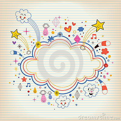 Star bursts cartoon cloud shape banner frame lined note paper background