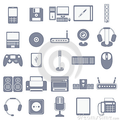 Vector icon set of computer media gadgets and devices