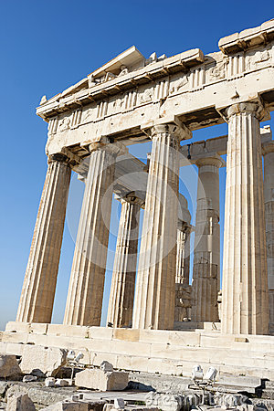 Columns of Parthenon in Acropolis of Athens