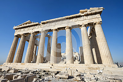 Columns of Parthenon temple in Acropolis of Athens