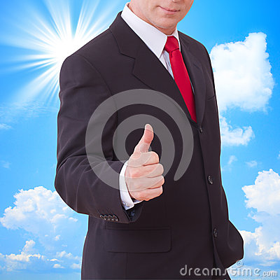Businessman showing perfect gesture. Hand sign excellent, good, great, okay, yes.