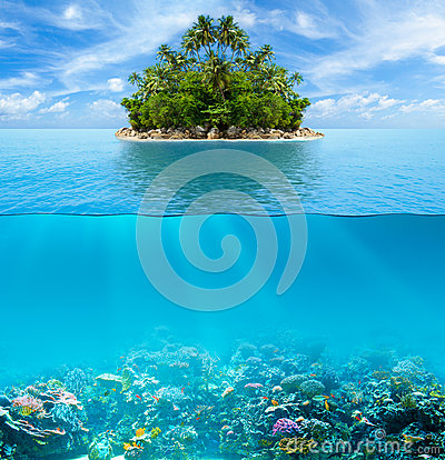 Underwater coral reef seabed and surface with tropical island