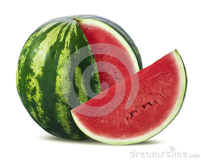 Big watermelon and slice  on white background