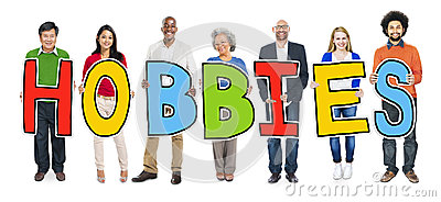 stock image of cheerful diverse business people and text hobbies
