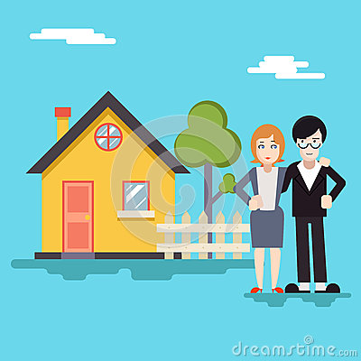 Retro Happy Family with House Real Estate Modern