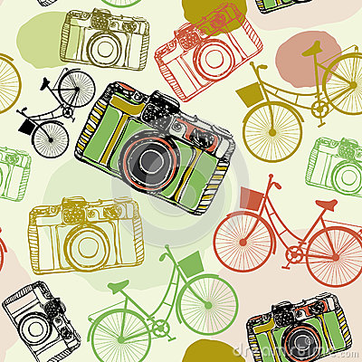 Vintage film camera and bicycles, , seamless pattern pastel colors