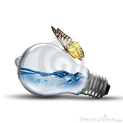 Light bulb with water wave