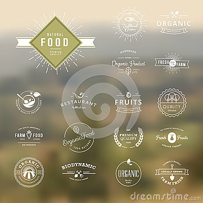 Set of vintage style elements for labels and badges for natural food and drink