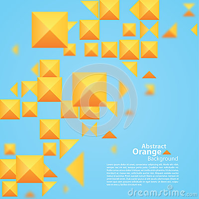 Abstract Orange Square On A Blue Background