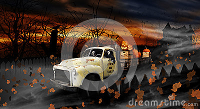 Halloween Ghouls Driving Old Delivery Truck