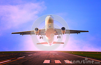 Passenger jet plane flying from airport runway use for traveling and cargo ,freight industry topic