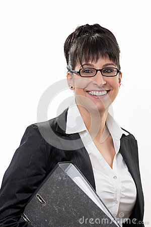 Business lady smiles