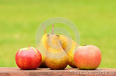 Fresh pear and apple after harvest