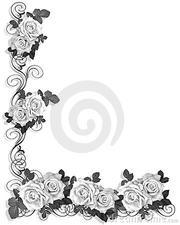 Black And White Roses Border Design
