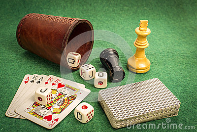 Dice Cup with Deck Cards and Chess Pieces