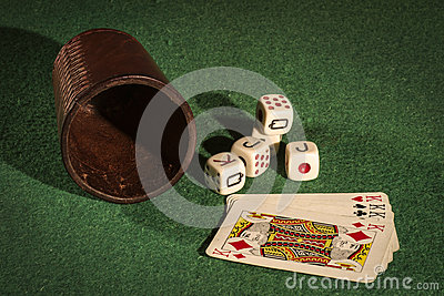 Dice Cup with Deck Cards