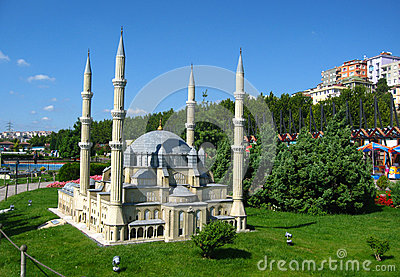 Mosque with high minarets in the park Miniaturk in Istanbul, Turkey
