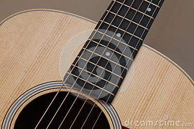 Beautiful close up abstract picture of a classical acoustic guitar with soft light brown beige natural wood grain, ebony fretboard